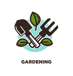 gardening logo design with spade and rake with vector image