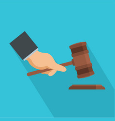 Gavel in hand icon flat style vector