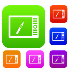 graphics tablet set color collection vector image