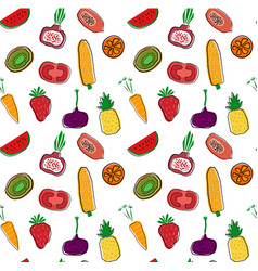 Hand drawn colourful fruits and veggetables vector