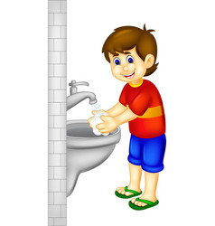 Handsoome boy cartoon stading with hand wash vector