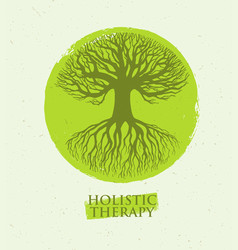 holistic therapy tree with roots on organic paper vector image