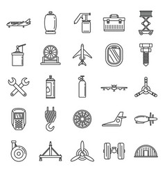Industry aircraft repair icons set outline style vector
