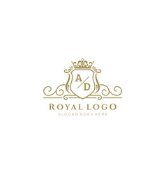 Initial ad letter luxurious brand logo template vector