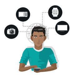 Internet things man with smartphone technology vector