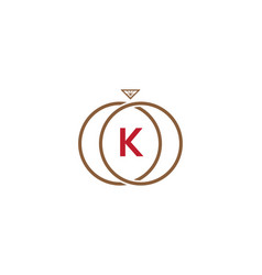 k letter ring diamond logo vector image