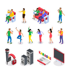 karaoke isometric icon set vector image
