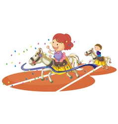 kids and horse vector image