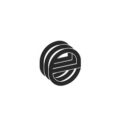 letter e logo monogram isometric form three vector image