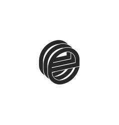 Letter e logo monogram isometric form three vector