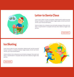 letter to santa and ice skating web posters text vector image