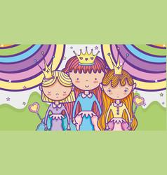 Little princess cute cartoon vector
