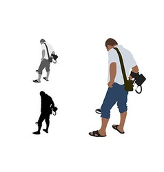 Man with shorts and slippers using metal detector vector