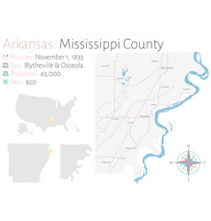 Map mississippi county in arkansas vector