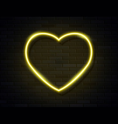 modern neon yellow glowing heart banner on dark vector image