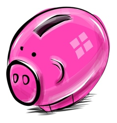 Money box cartoon pig sketch vector image