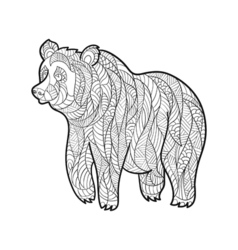 Monochrome hand drawn zentagle of bear Coloring vector