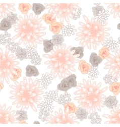 Mums flowers and roses seamless pink pattern vector