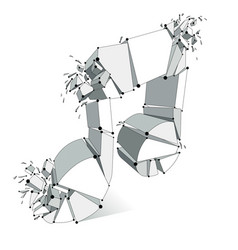 Musical note breaking to pieces and exploding 3d vector