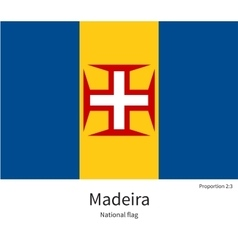 National flag of Madeira with correct proportions vector