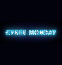 neon cyber monday banner neon lights cyber monday vector image
