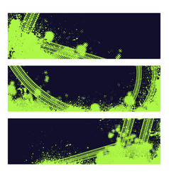 Neon green tire track banners vector