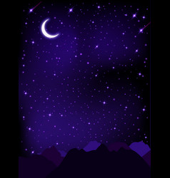 night starry sky with stars moon and mountains vector image