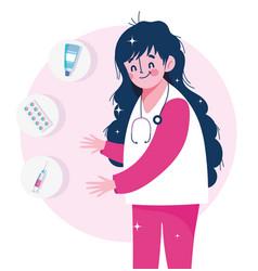 nurse staff capsule syringe and cream medical vector image