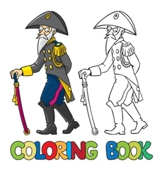 Old general or officer coloring book vector