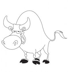 outlined bull vector image