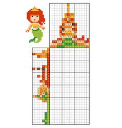 Paint number puzzle nonogram mermaid vector