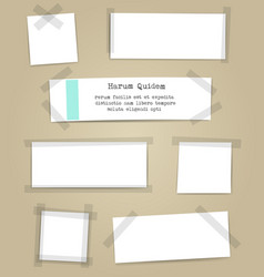 Paper sheets with scotch tape pieces vector