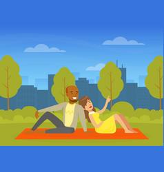 People relaxing in nature in urban park romantic vector