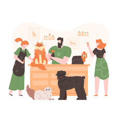 pets in grooming salon domestic dogs and cats in vector image