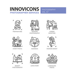 Photographer services - line design icons set vector