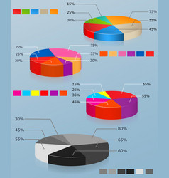pie charts set of of multi-colored pie chart vector image