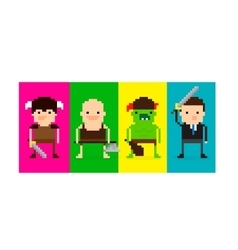 Pixel Game Characters vector