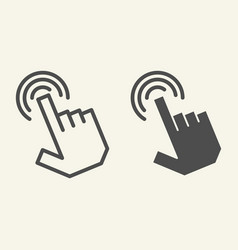pointer hand line and glyph icon hand cursor vector image
