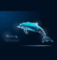 polygonal dolphin save planet ocean life vector image