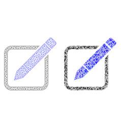 Polygonal network mesh edit pencil and mosaic icon vector