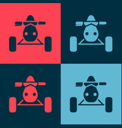 Pop art all terrain vehicle or atv motorcycle icon vector