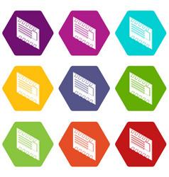 postal envelope icons set 9 vector image