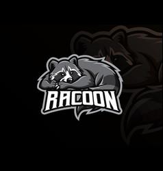 raccoon mascot sport logo design vector image