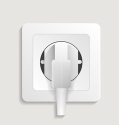 Realistic electric wall outlet with plug icon vector