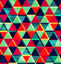 Retro triangle mosaic seamless pattern with grunge vector