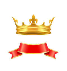 ribbon and crown icons set vector image