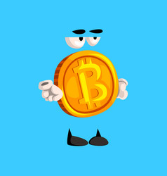 Serious bitcoin character funny crypto currency vector