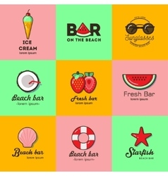 Set of nine logos for summer beach bar vector image