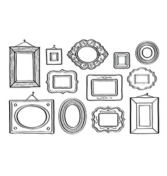 set vintage photo frames hand drawn vector image