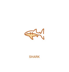 Shark concept 2 colored icon simple line element vector